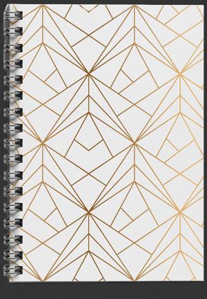 מחברת-ספירלה-זהב גיאומטרי אחורי