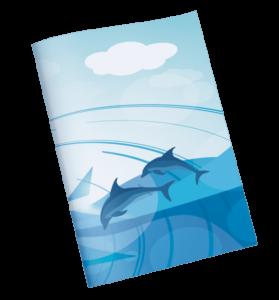 עטיפות למחברת דולפינים אחורי